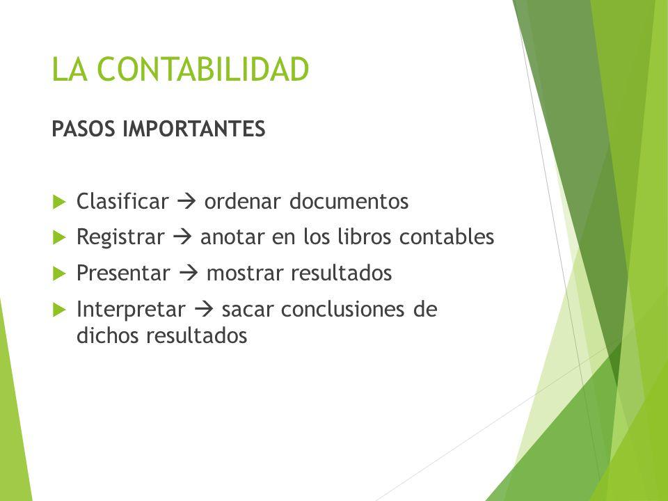 LA CONTABILIDAD PASOS IMPORTANTES Clasificar  ordenar documentos