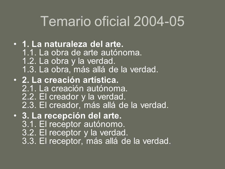 Temario oficial 2004-051. La naturaleza del arte. 1.1. La obra de arte autónoma. 1.2. La obra y la verdad. 1.3. La obra, más allá de la verdad.