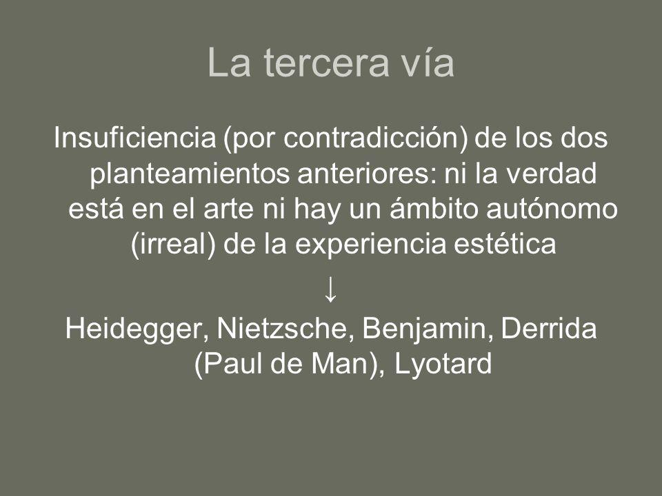 Heidegger, Nietzsche, Benjamin, Derrida (Paul de Man), Lyotard