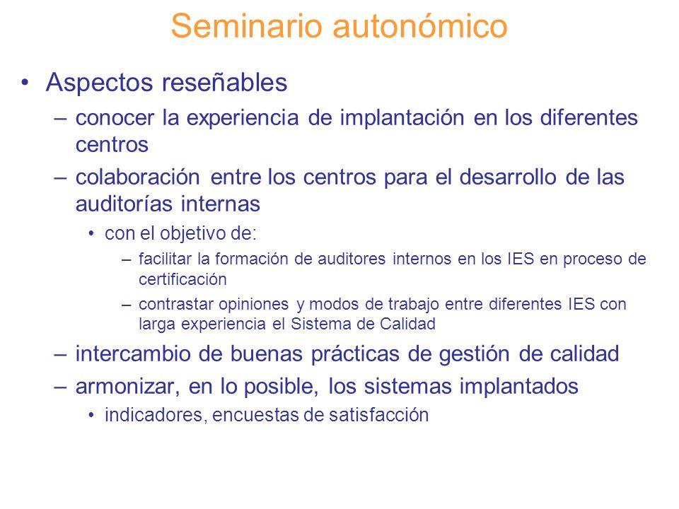Seminario autonómico Aspectos reseñables