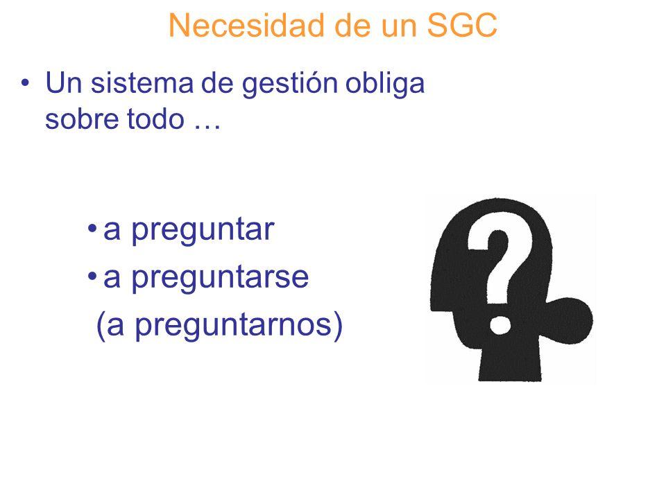 Necesidad de un SGC a preguntar a preguntarse (a preguntarnos)