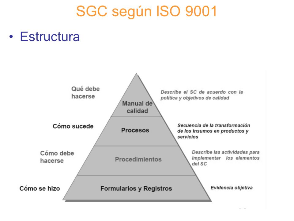 SGC según ISO 9001 Estructura