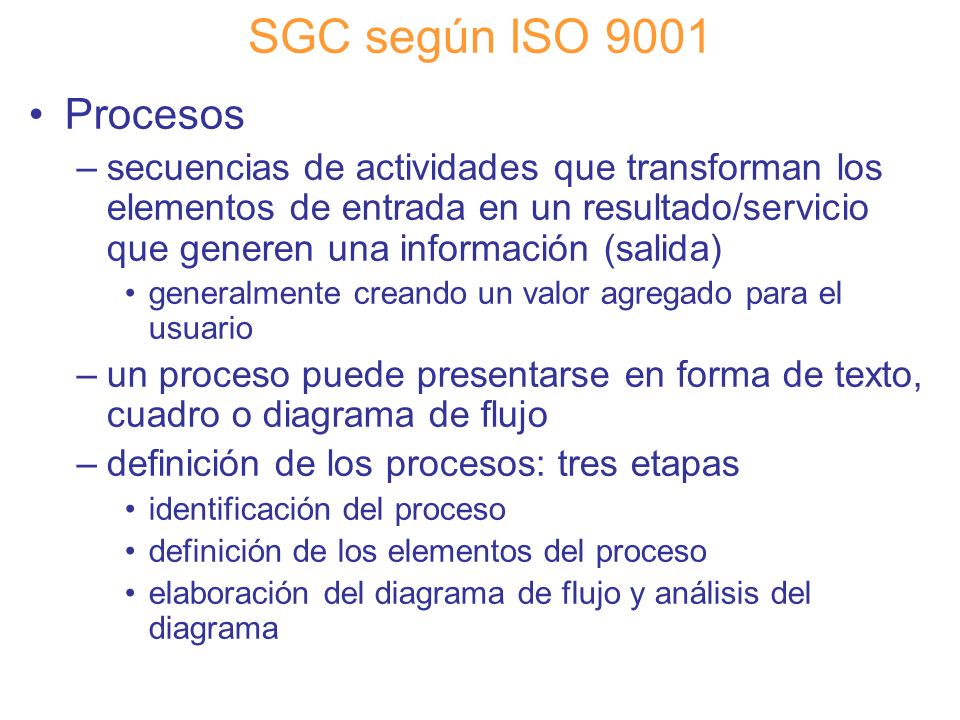 SGC según ISO 9001 Procesos.