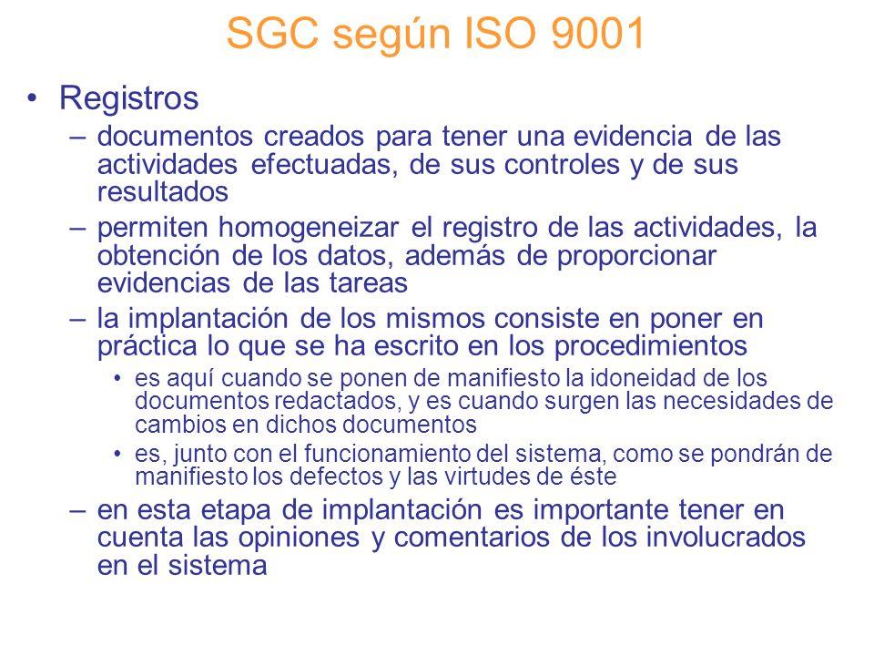 SGC según ISO 9001 Registros