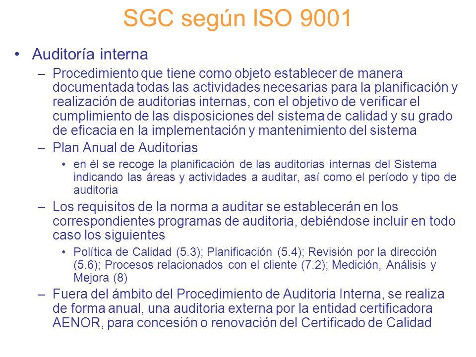 SGC según ISO 9001 Auditoría interna