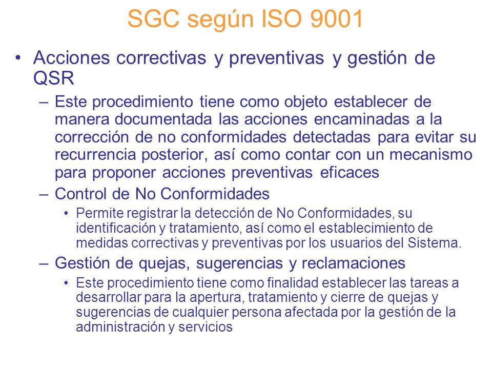 SGC según ISO 9001 Acciones correctivas y preventivas y gestión de QSR