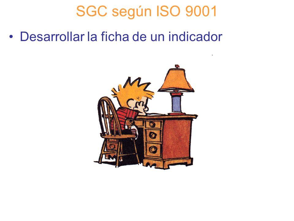 SGC según ISO 9001 Desarrollar la ficha de un indicador