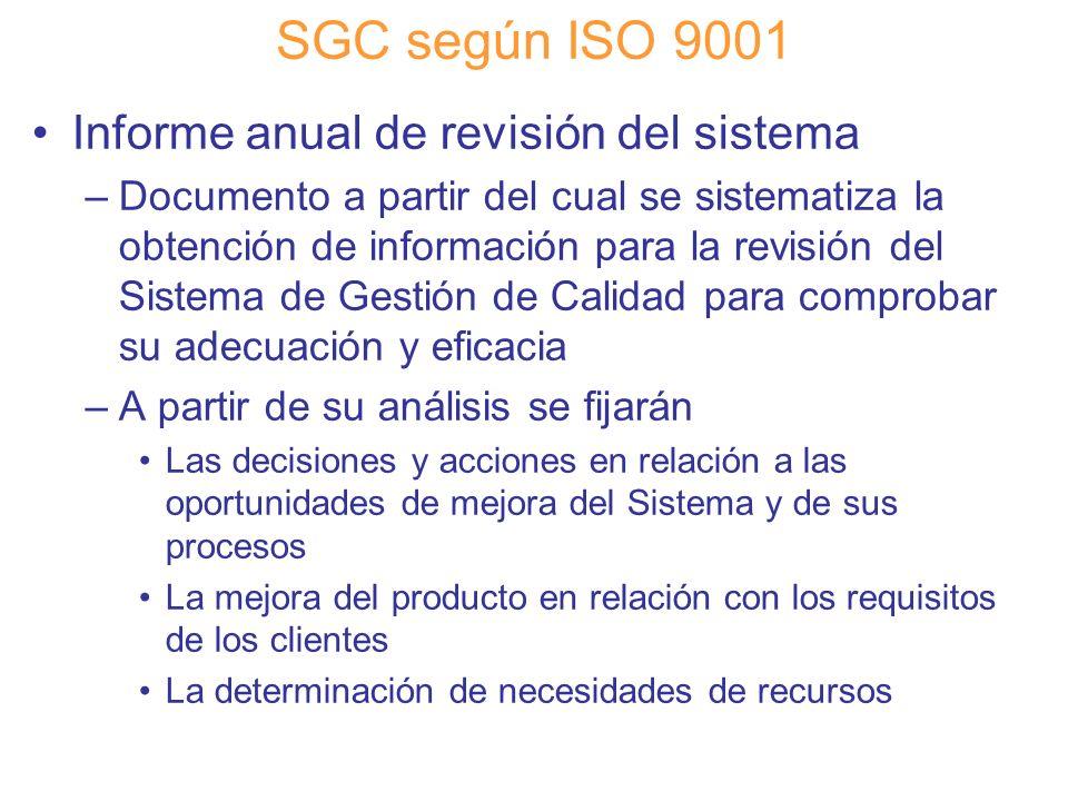 SGC según ISO 9001 Informe anual de revisión del sistema