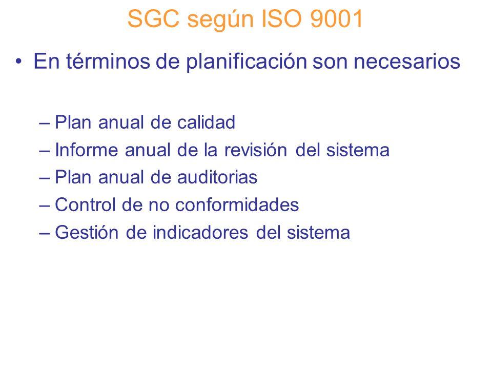 SGC según ISO 9001 En términos de planificación son necesarios