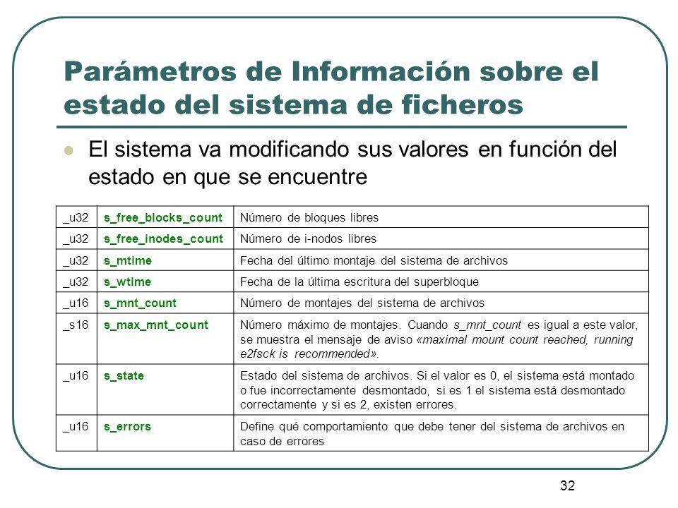 Parámetros de Información sobre el estado del sistema de ficheros