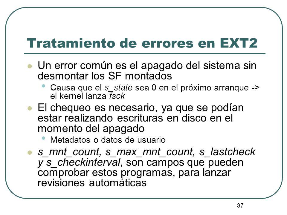 Tratamiento de errores en EXT2
