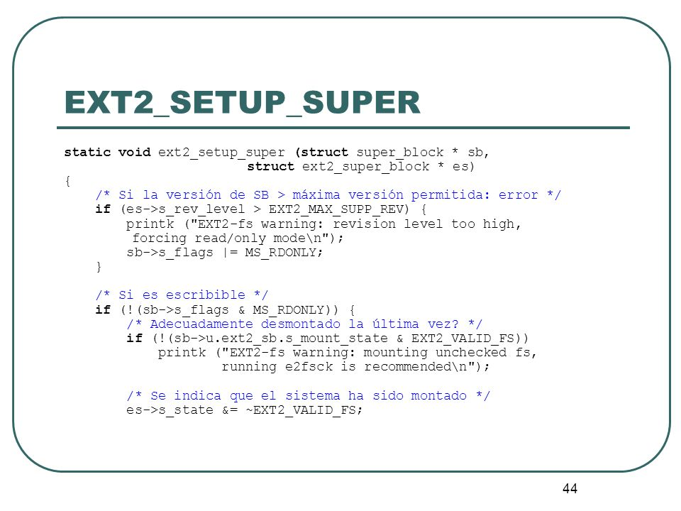EXT2_SETUP_SUPER static void ext2_setup_super (struct super_block * sb, struct ext2_super_block * es)