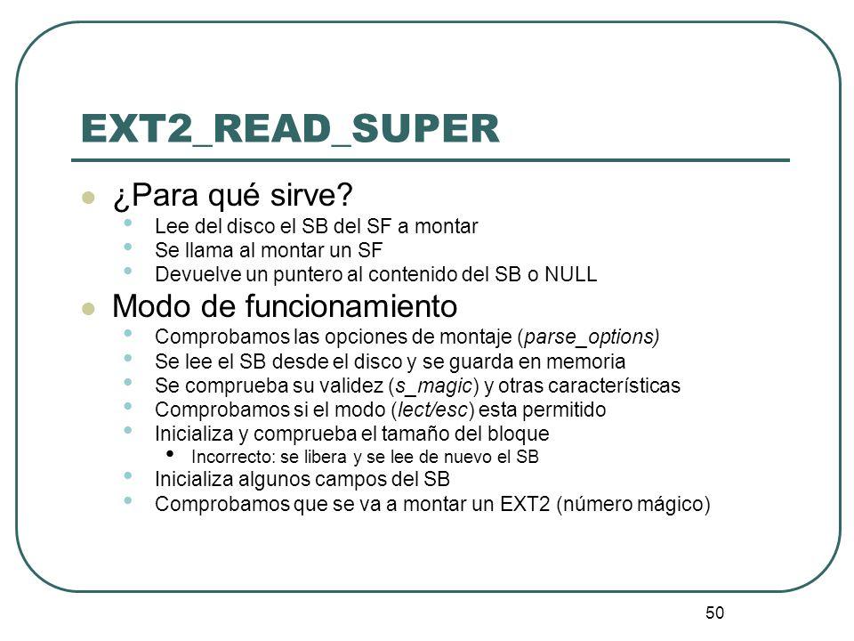 EXT2_READ_SUPER ¿Para qué sirve Modo de funcionamiento