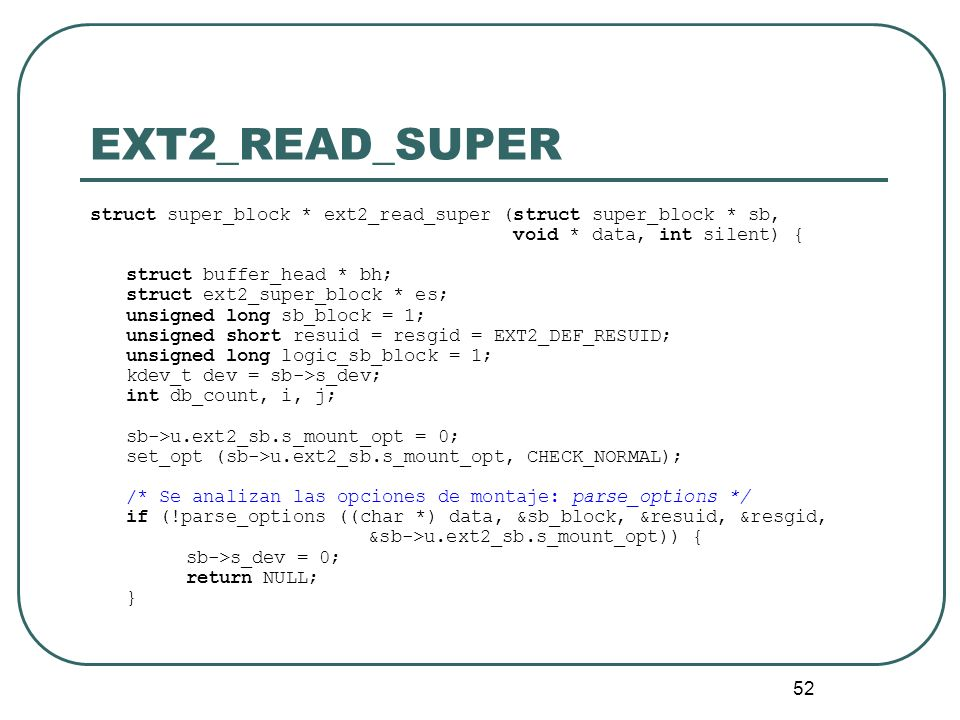 EXT2_READ_SUPER struct super_block * ext2_read_super (struct super_block * sb, void * data, int silent) {