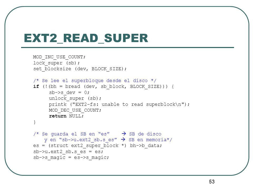EXT2_READ_SUPER MOD_INC_USE_COUNT; lock_super (sb);