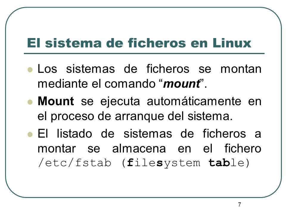 El sistema de ficheros en Linux