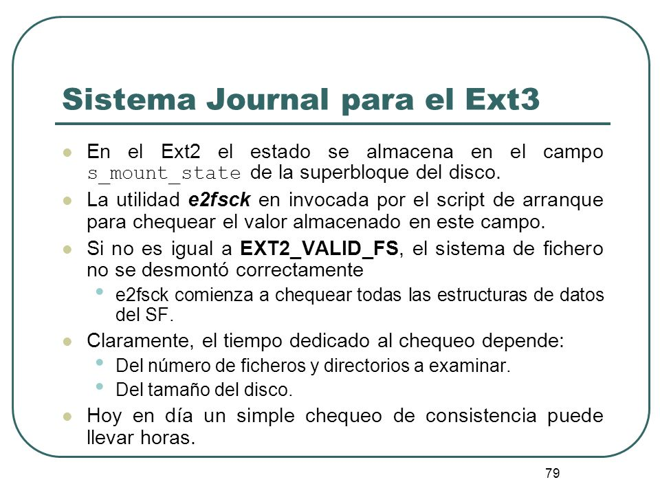 Sistema Journal para el Ext3