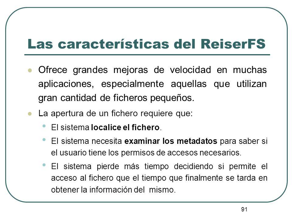 Las características del ReiserFS