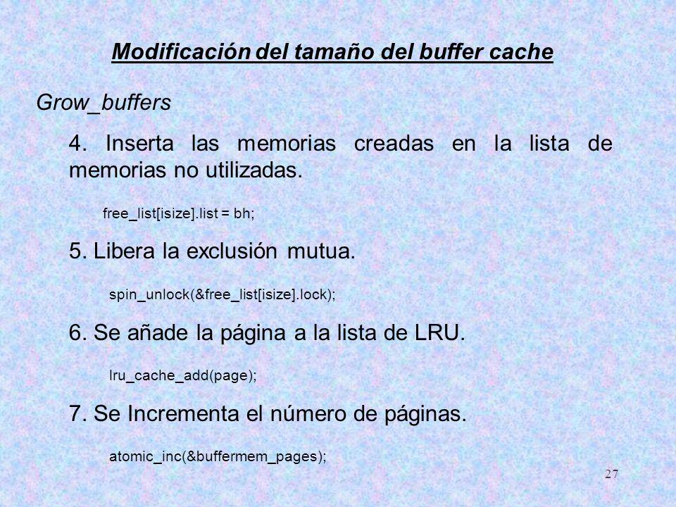Modificación del tamaño del buffer cache
