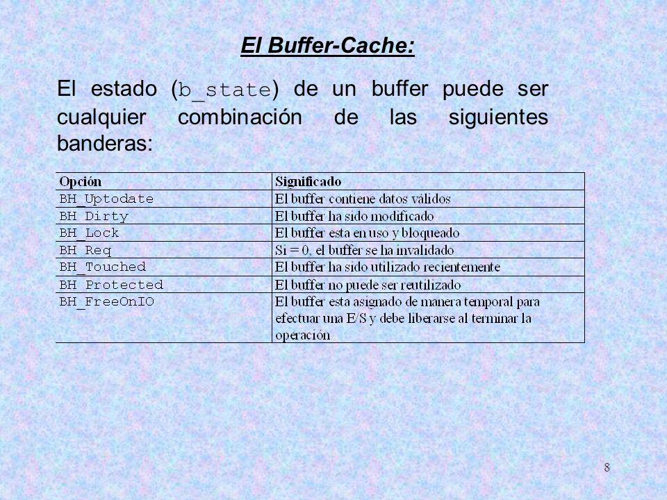 El Buffer-Cache: El estado (b_state) de un buffer puede ser cualquier combinación de las siguientes banderas: