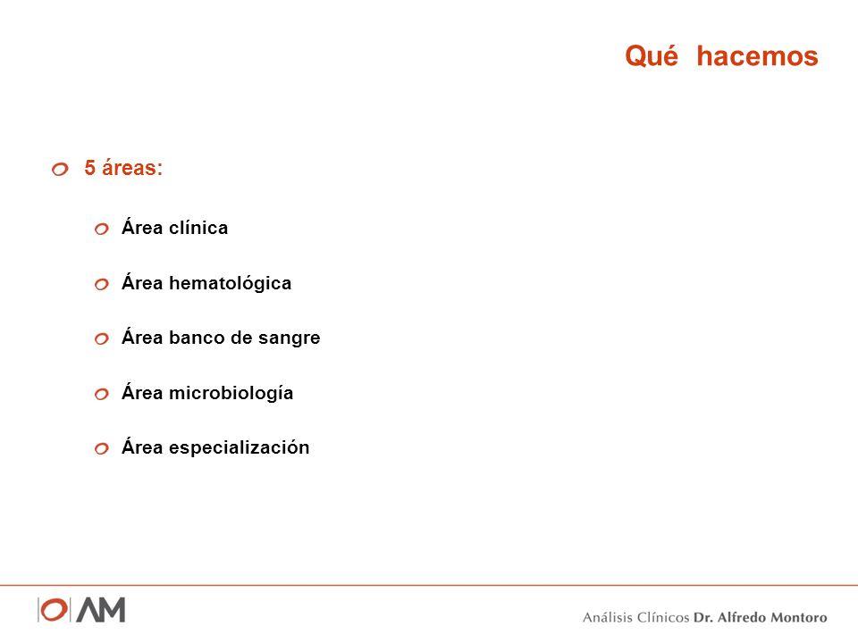 Qué hacemos 5 áreas: Área clínica Área hematológica