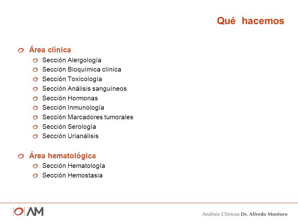 Qué hacemos Área clínica Área hematológica Sección Alergología