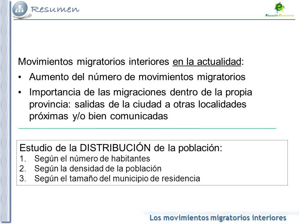 Movimientos migratorios interiores en la actualidad: