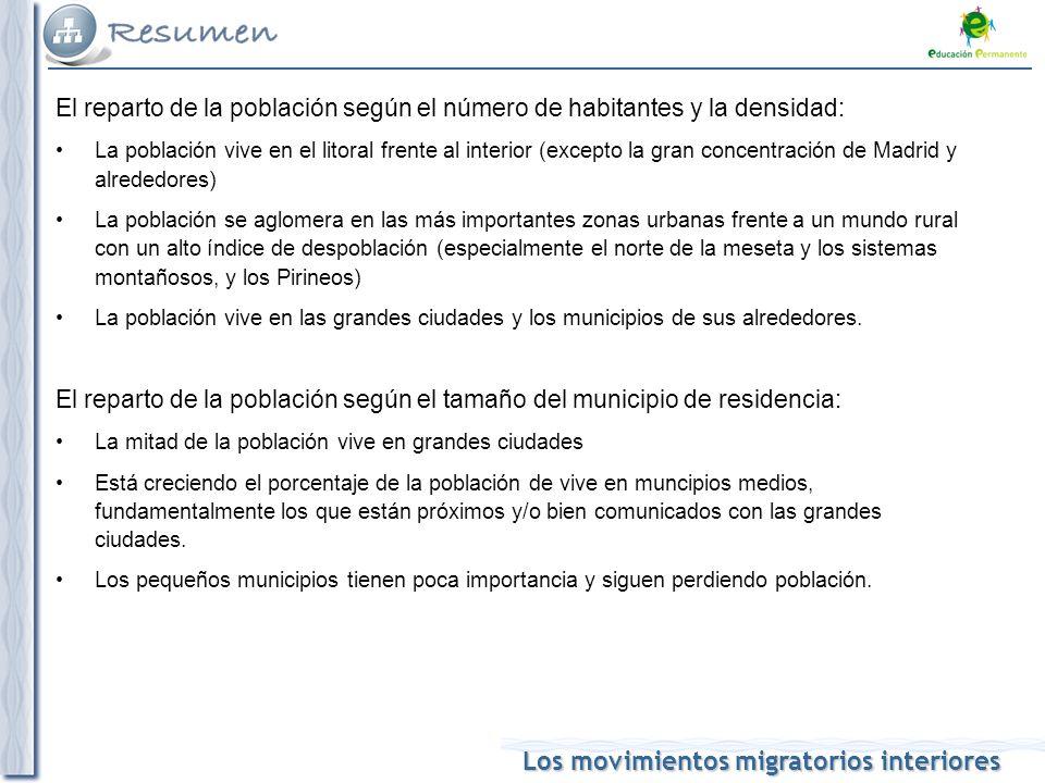 El reparto de la población según el número de habitantes y la densidad: