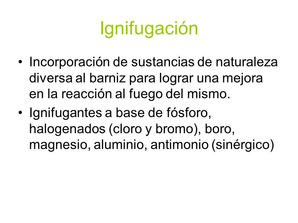 IgnifugaciónIncorporación de sustancias de naturaleza diversa al barniz para lograr una mejora en la reacción al fuego del mismo.