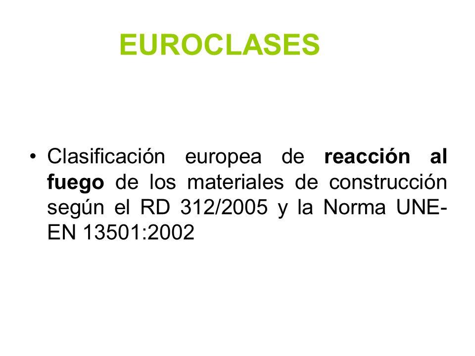 EUROCLASES Clasificación europea de reacción al fuego de los materiales de construcción según el RD 312/2005 y la Norma UNE-EN 13501:2002.