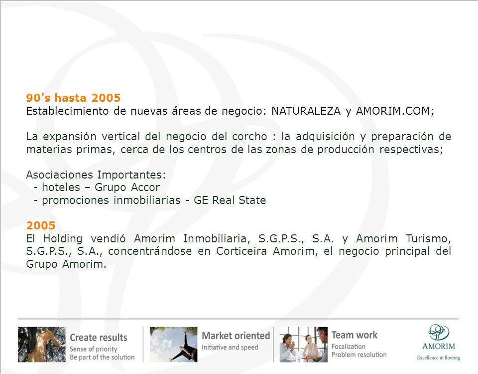 Establecimiento de nuevas áreas de negocio: NATURALEZA y AMORIM.COM;