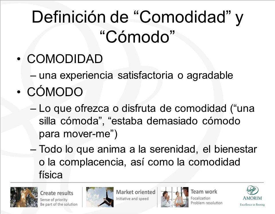 Definición de Comodidad y Cómodo