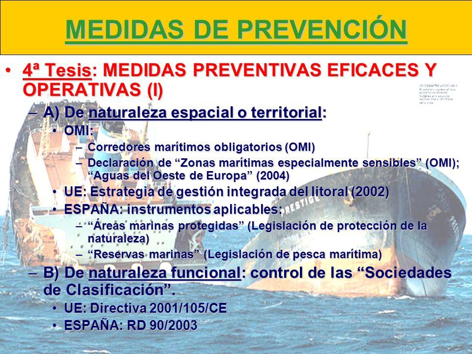 MEDIDAS DE PREVENCIÓN4ª Tesis: MEDIDAS PREVENTIVAS EFICACES Y OPERATIVAS (I) A) De naturaleza espacial o territorial: