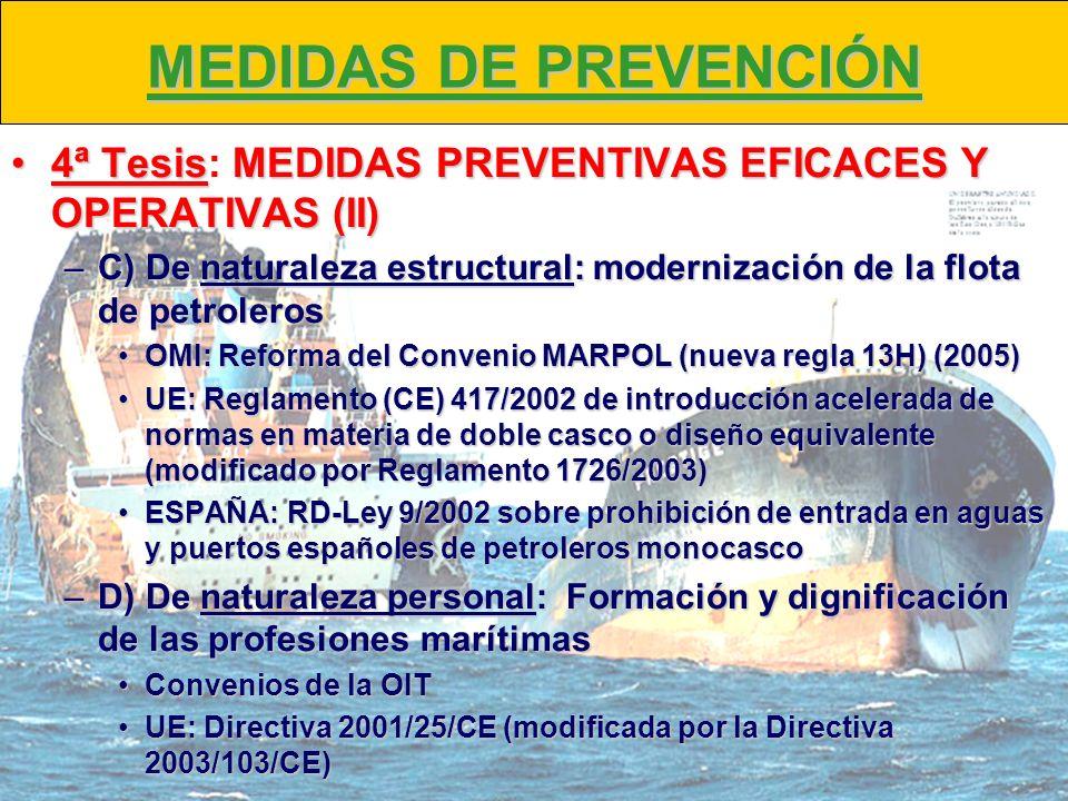 MEDIDAS DE PREVENCIÓN 4ª Tesis: MEDIDAS PREVENTIVAS EFICACES Y OPERATIVAS (II) C) De naturaleza estructural: modernización de la flota de petroleros.