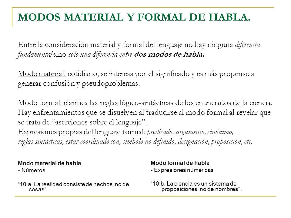 MODOS MATERIAL Y FORMAL DE HABLA