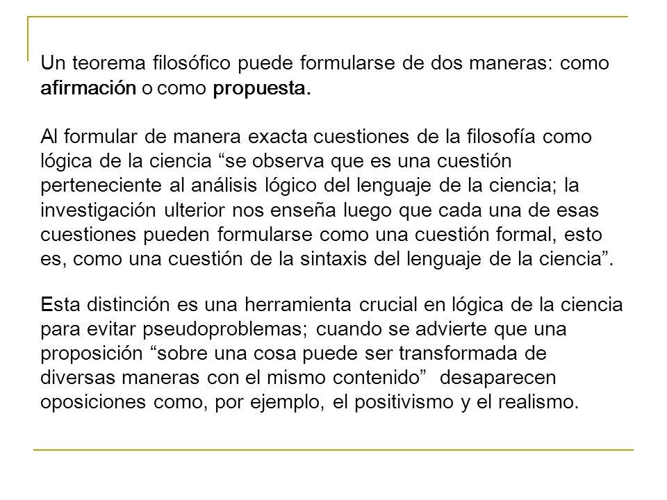 Un teorema filosófico puede formularse de dos maneras: como afirmación o como propuesta.