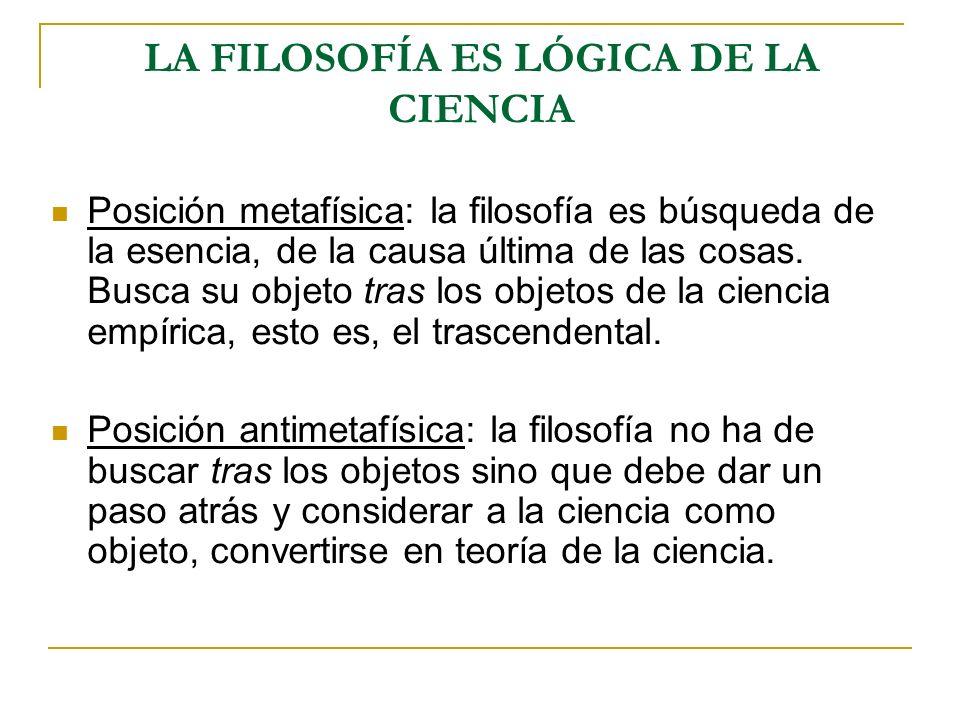 LA FILOSOFÍA ES LÓGICA DE LA CIENCIA