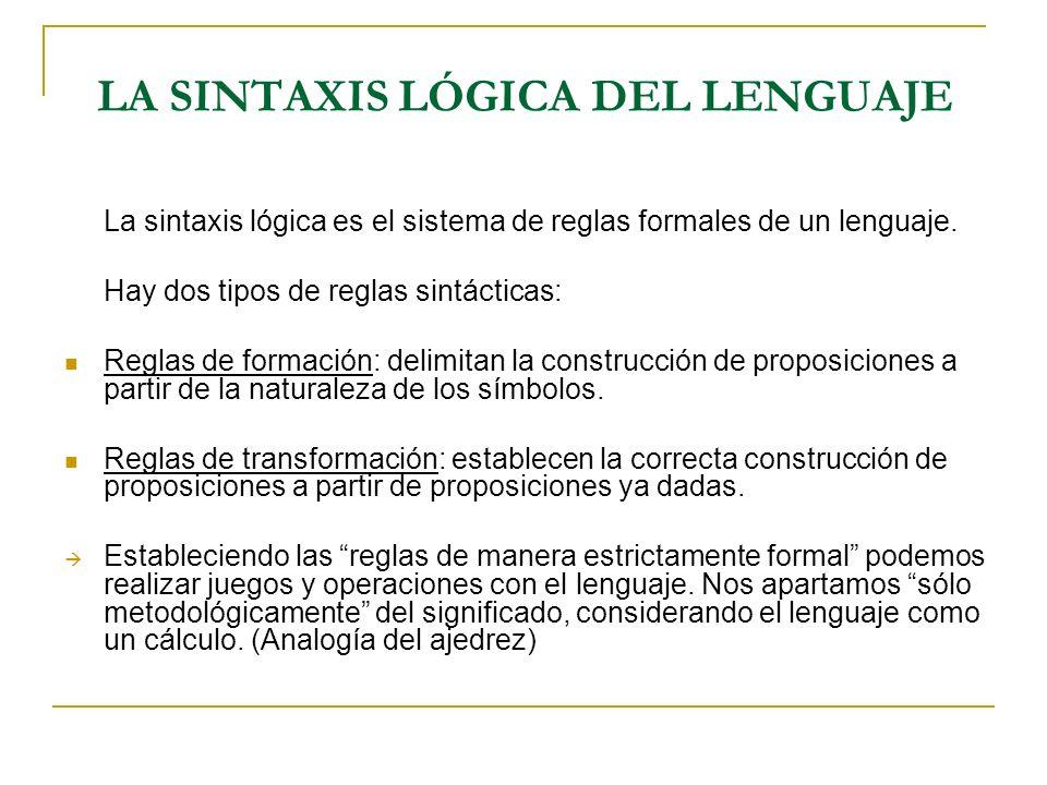 LA SINTAXIS LÓGICA DEL LENGUAJE