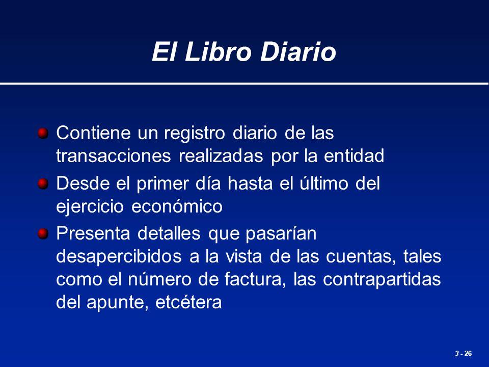 El Libro Diario Contiene un registro diario de las transacciones realizadas por la entidad.