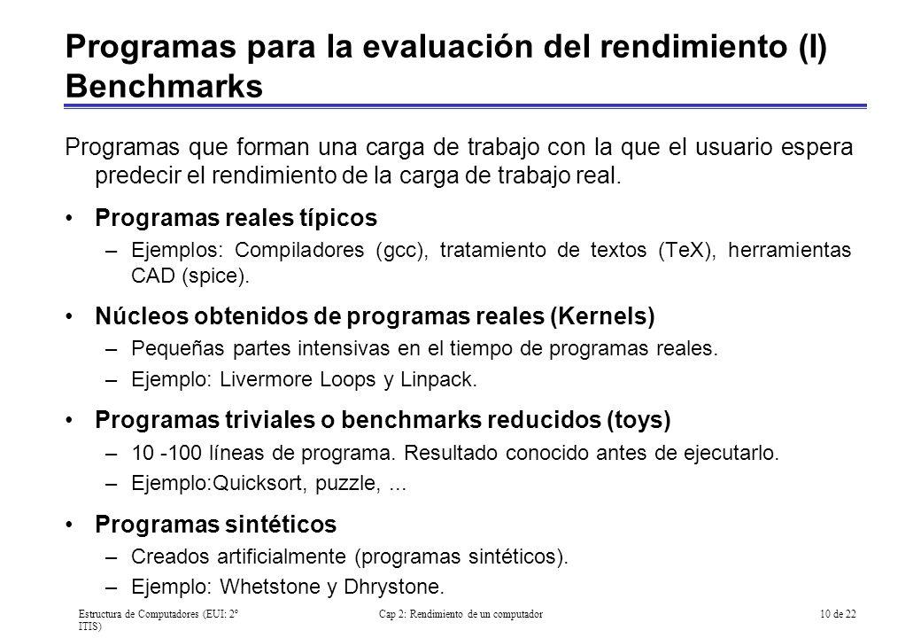 Programas para la evaluación del rendimiento (I) Benchmarks
