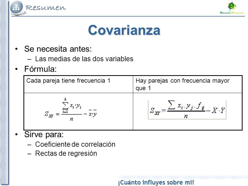 Covarianza Se necesita antes: Fórmula: Sirve para: