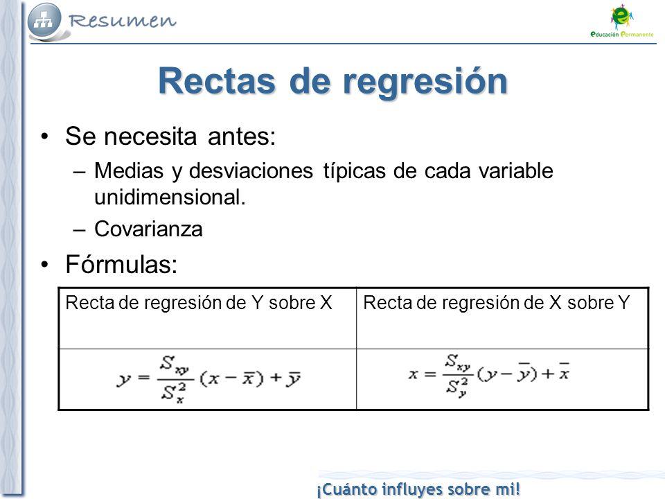 Rectas de regresión Se necesita antes: Fórmulas: