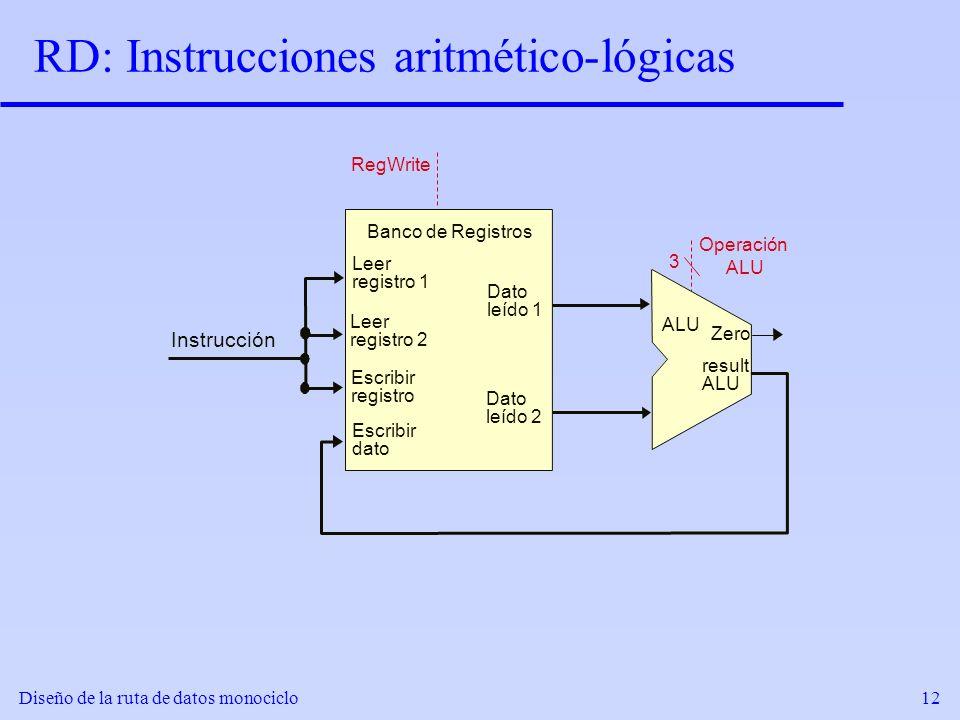RD: Instrucciones aritmético-lógicas