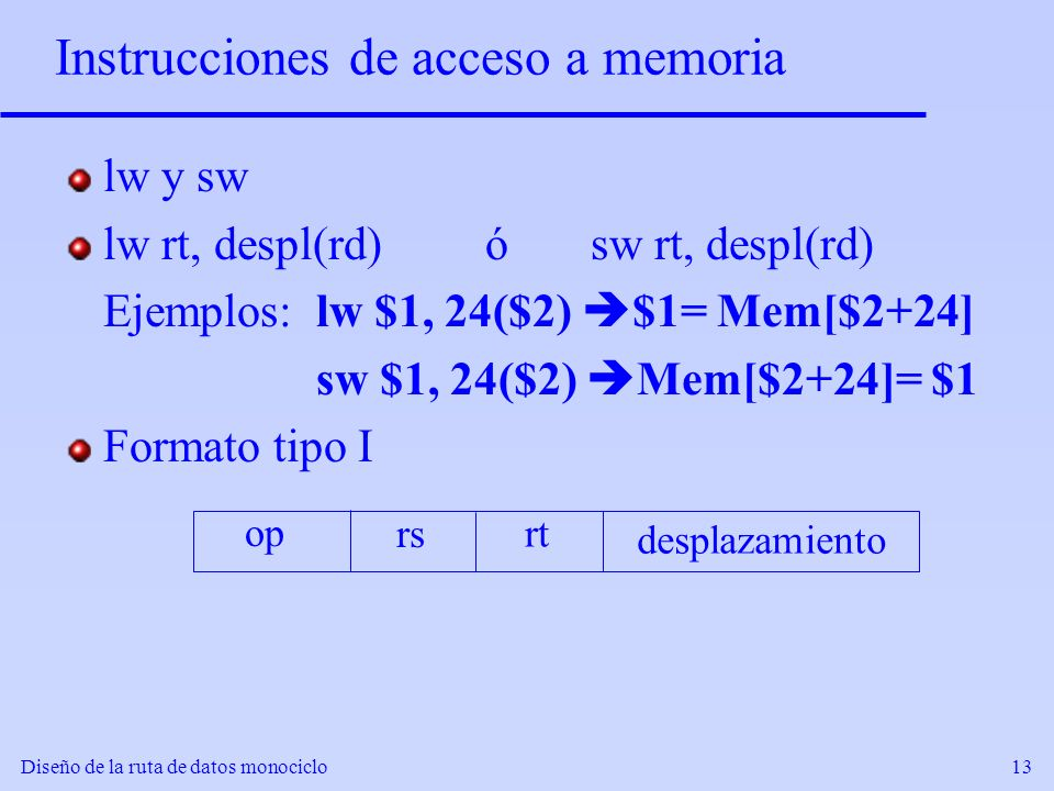 Instrucciones de acceso a memoria
