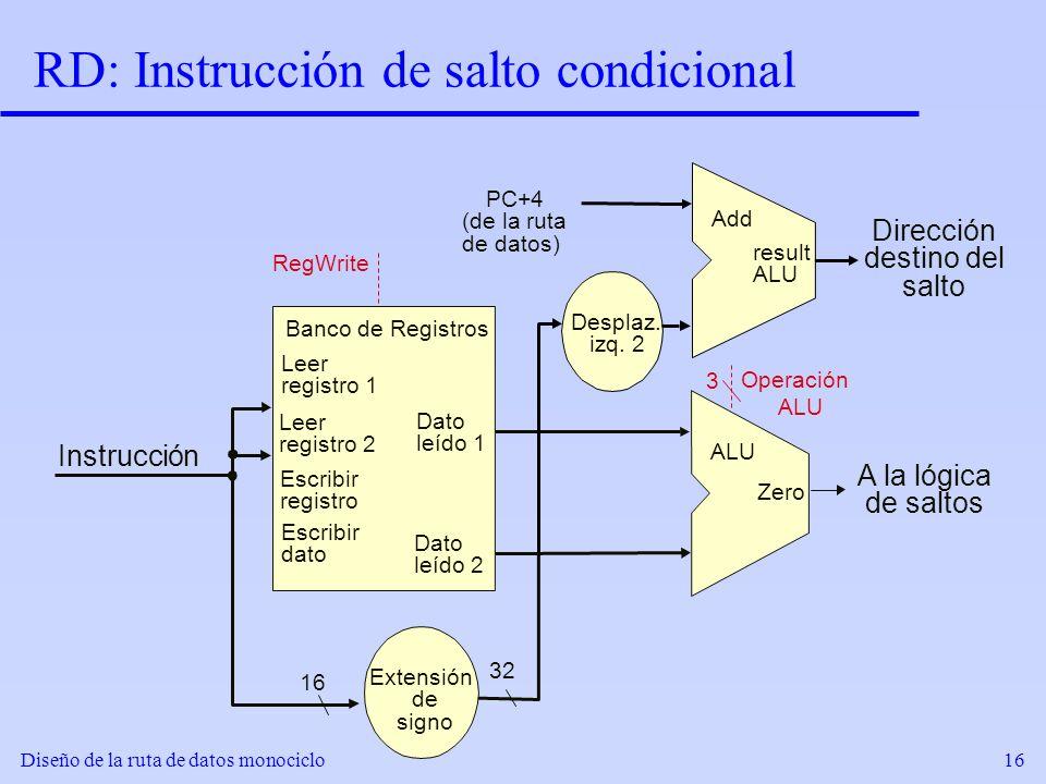 RD: Instrucción de salto condicional