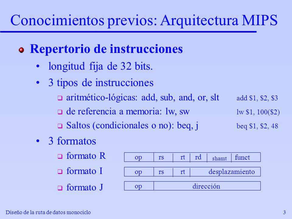 Conocimientos previos: Arquitectura MIPS