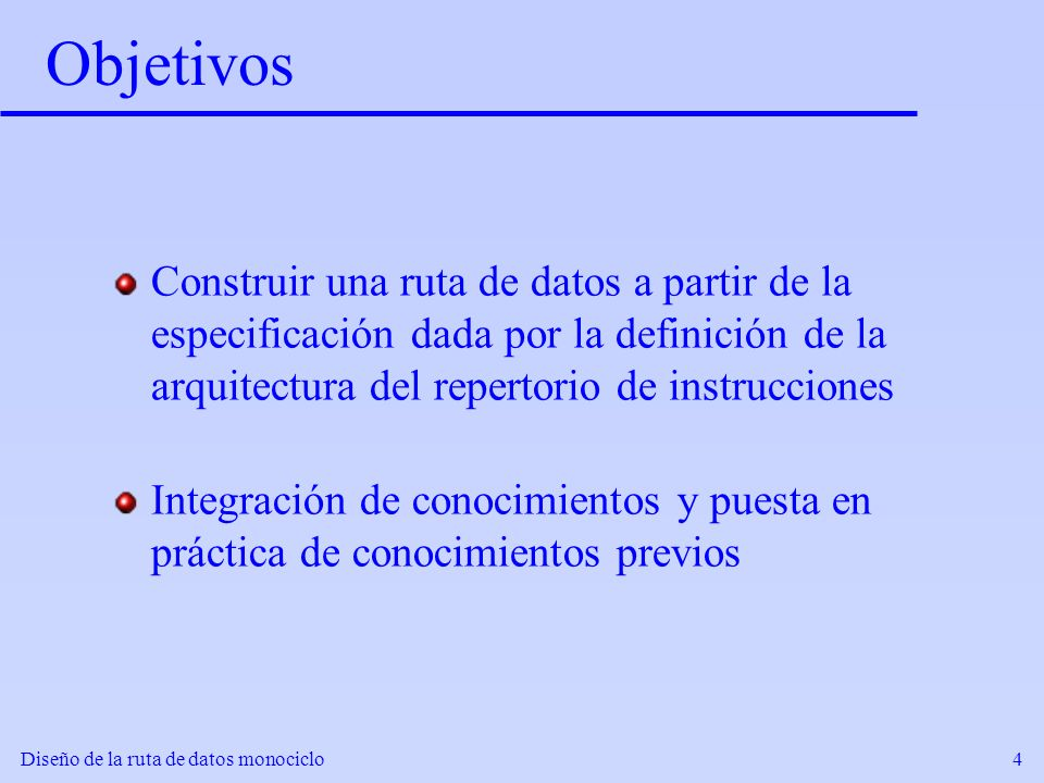 ObjetivosConstruir una ruta de datos a partir de la especificación dada por la definición de la arquitectura del repertorio de instrucciones.
