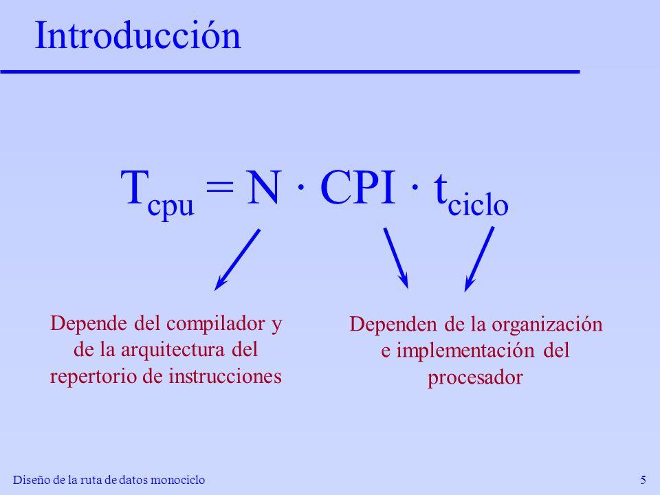 Tcpu = N · CPI · tciclo Introducción Depende del compilador y