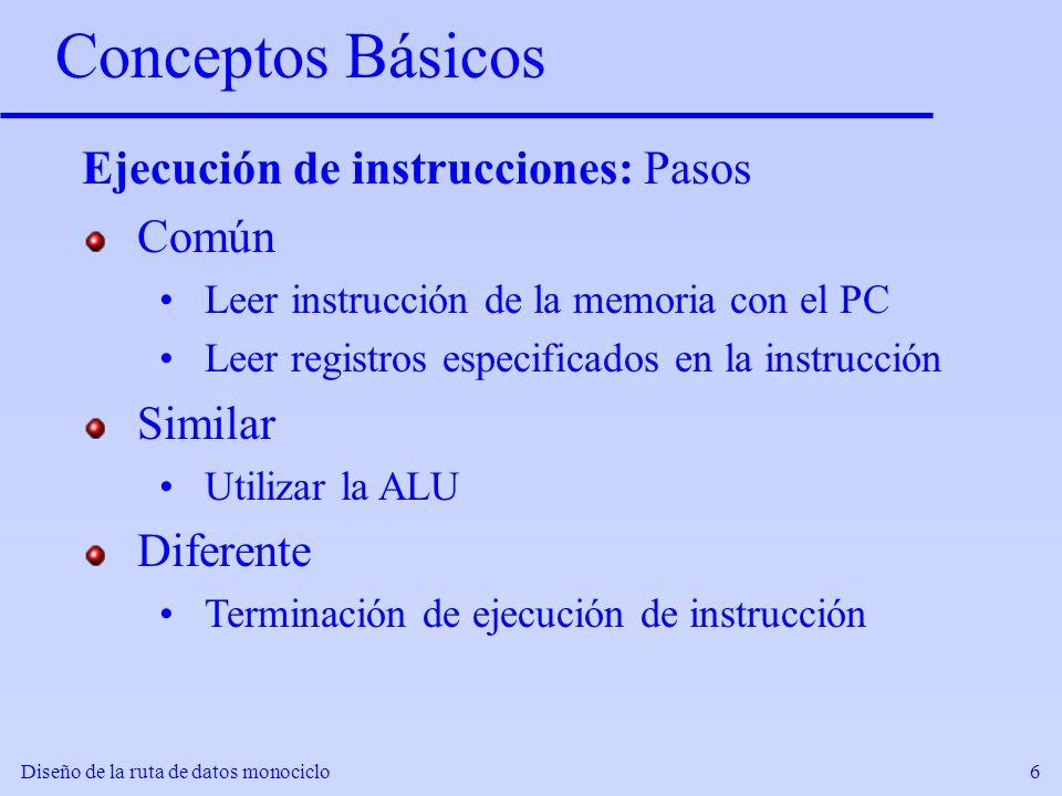 Conceptos Básicos Ejecución de instrucciones: Pasos Común Similar