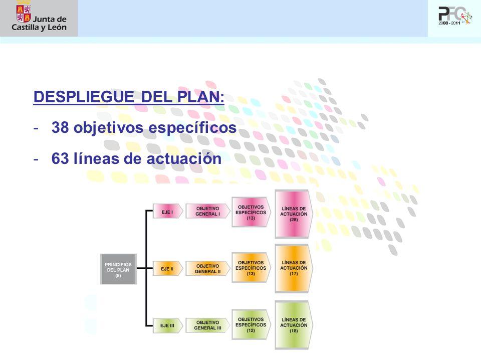 DESPLIEGUE DEL PLAN: 38 objetivos específicos 63 líneas de actuación